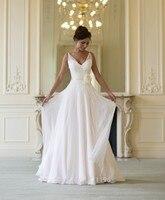 Free Shipping New Fashionable Romantic Silk Chiffon Flowers Vestido De Noiva Beach Wedding Dress Bridal Gown