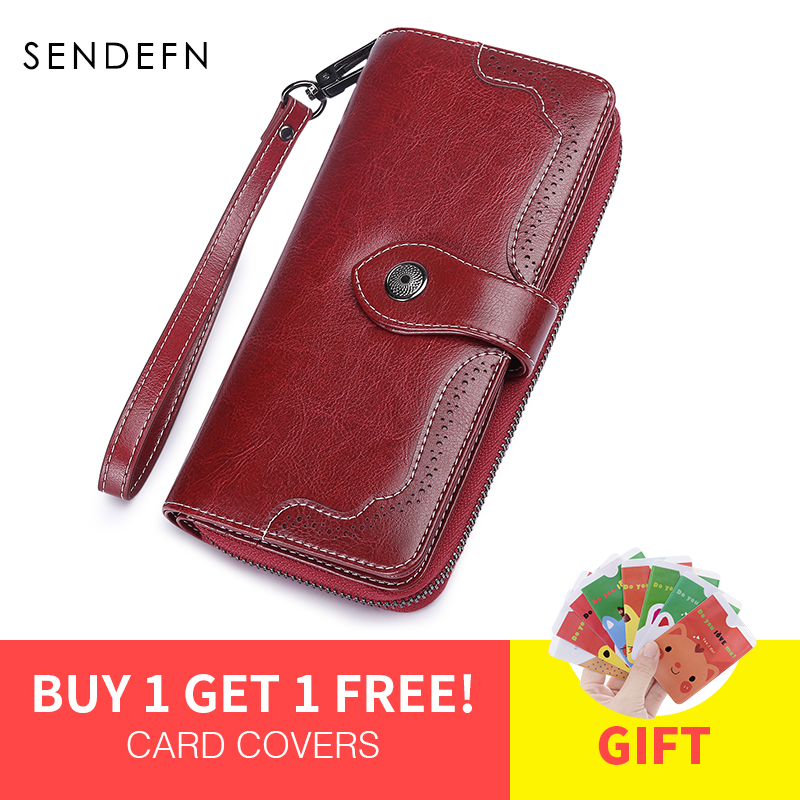 SENDEFN Hollow Out Wallet Women Leather Coin Purse Female Long Design Women's Wallet Zipper With Strap Mulit Color 5197 6