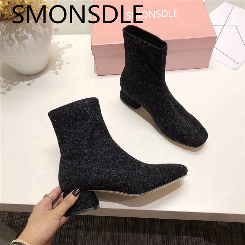 SMONSDLE 2018 New Fashion Spring Autumn Black Women Ankle Boots Square Toe Slip On Chunky Heel Women Flat Boots Shoes Woman 2018 new women round toe chunky heel ankle boots ankle strip buckle slip on black big size spring autumn dress shoes