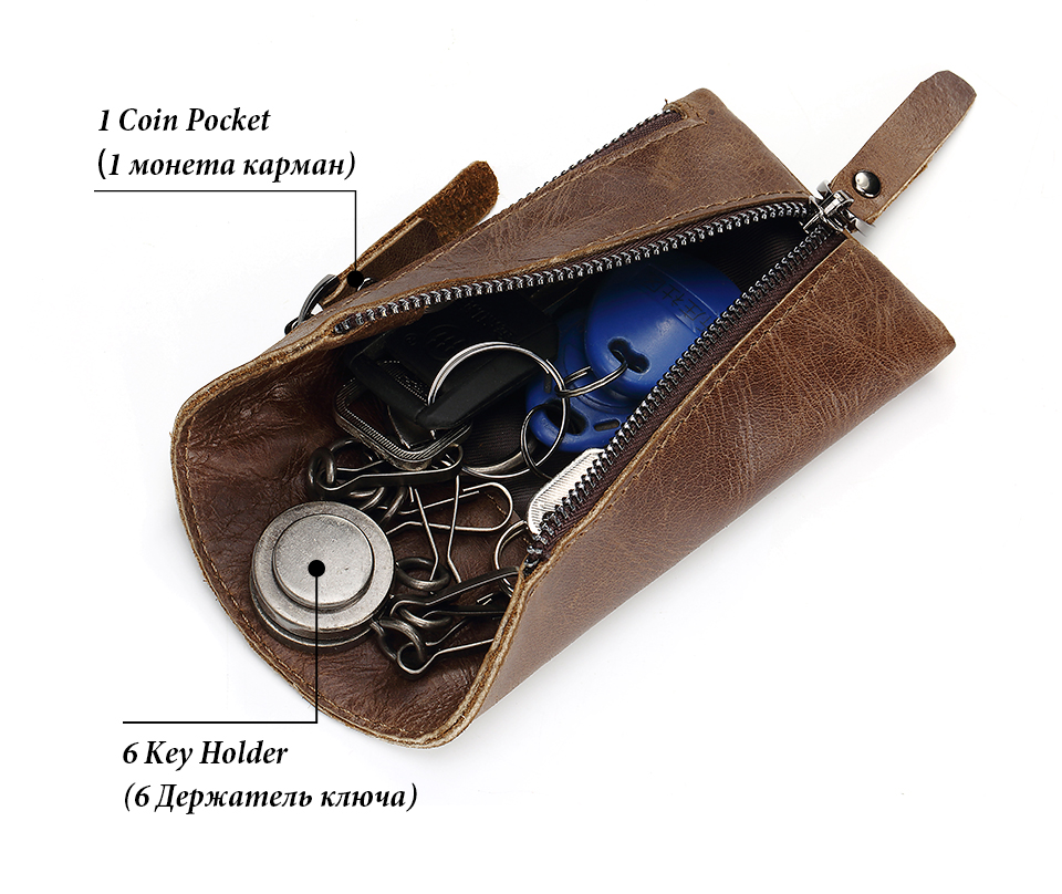 Topdudes.com - Genuine Leather Housekeeper Key Organizer Keychain Wallet