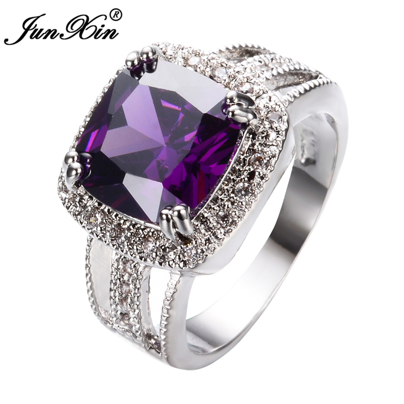 JUNXIN Big Stone Elegant Men Women Purple Rings White Gold ...