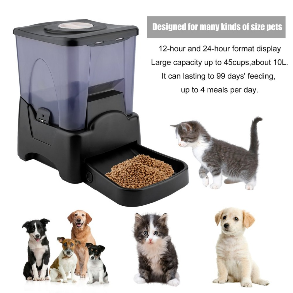 (Ship From UK) NEW Large Capacity 10L Automatic Program Auto Digital Pet Cat'S Dogs Feeder Food Bowl Dispenser Feeding Device