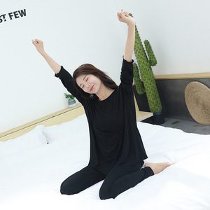 Image 5 - women pajamas set Autumn new home suits Modal short sleeved shirt + trousers  two piece sets loose sleepwear pijama lingerie
