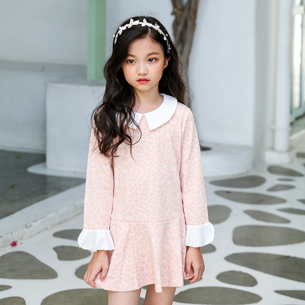 teen dress little girls dresses cotton child clothes autumn girl dress long-sleeve kids dresses for girls size 4 5 9 10 11 12 14 toddlers girls dots deer pleated cotton dress long sleeve dresses