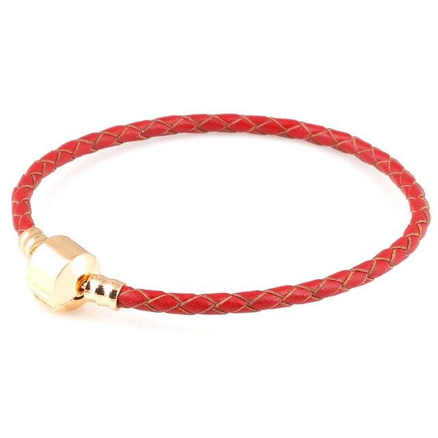 100% prawdziwej skóry DIY czerwony łańcuch złoty kolor klipsy bransoletki do metalu szkła europejskie Big Hole koraliki Charms