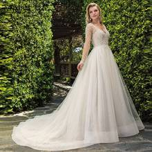 VNXIFM Glitter Tulle Wedding Dresses 2019 Plus Size A Line Nude V Neck Sexy Backless Court Train  Boho Bridal Gonws