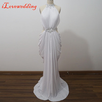 2016 Fashion Sexy Trumpet/Mermaid High Neck Rhinestone White Prom Dresses 2015 Hot Sale Custom Made Summer Long Prom Gowns e20