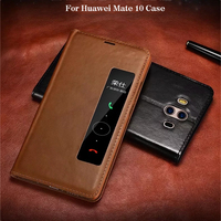 XOOMZ Hot Sale For Huawei Mate 10 Case Luxury Brand Hard Smart Window Genuine Leather Armor Flip Protective Phone Case Cover
