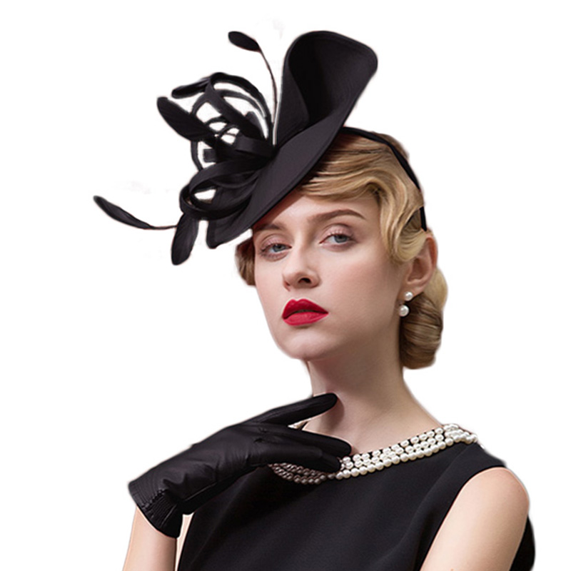 b2126a5ccf7 FS Ladies Red Wedding Hats For Women Pillbox Fascinators Hat Black Formal  Cocktail Tea Party Derby Cap Chapeu Feminino Fedora-in Fedoras from Apparel  ...