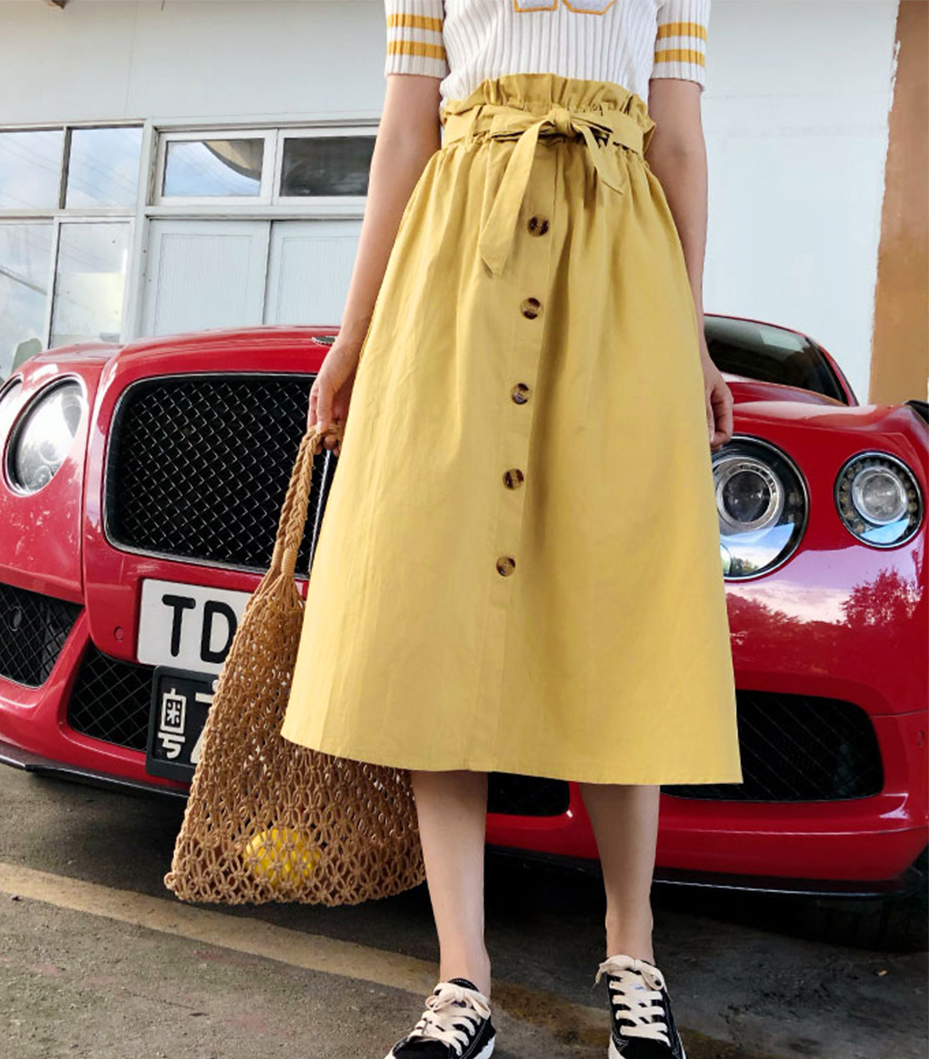 Gogoyouth Summer Skirts Womens 2018 New Midi Knee Length Korean Elegant Button High Waist Skirt Female Pleated Sun School Skirt 8