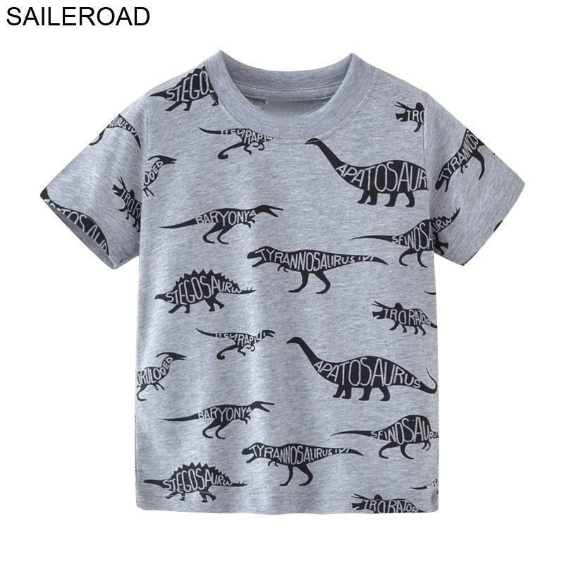 SAILEROAD 2-7T Cartoon Dinosaur Pattern Baby Boys Shorts T Shirt For Summer Children Kids Tops Tees Clothes Cotton Girls Shirts цена
