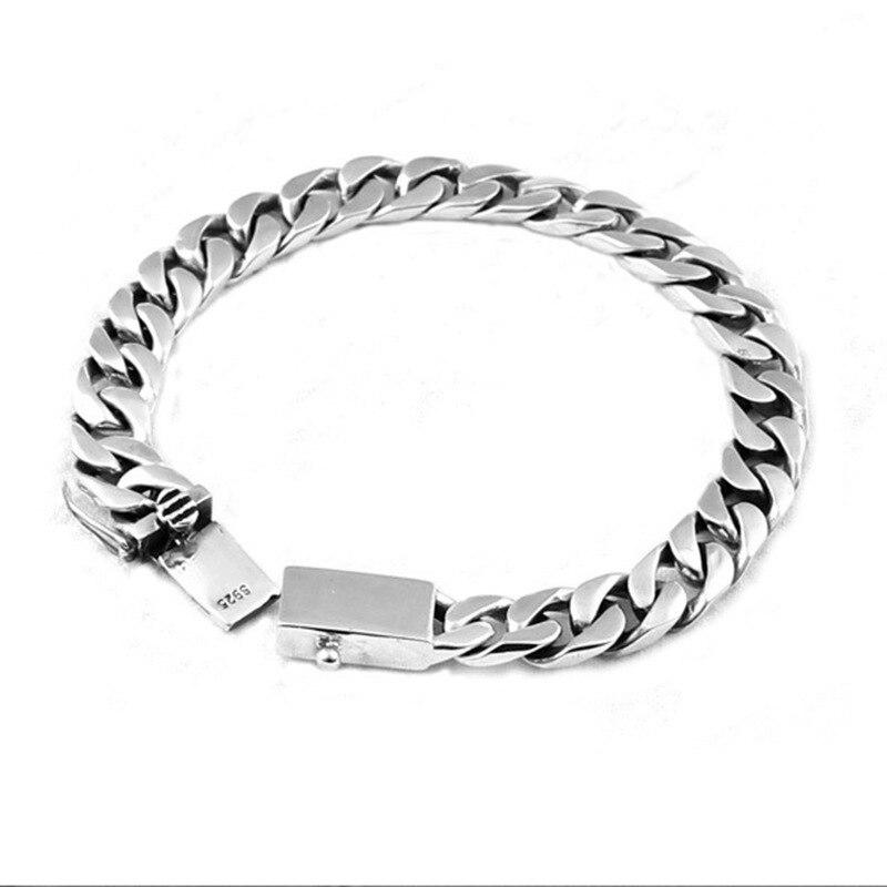 925 sterling silver couple bracelet simple vintage side chain mens and womens bracelet925 sterling silver couple bracelet simple vintage side chain mens and womens bracelet