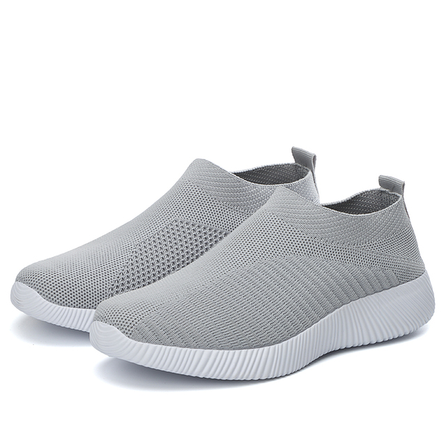 Mulher sapatos de tricô meias tênis mais size43 moda feminina vulcanizar sapatos femininos tênis de malha de ar plana casual tenis feminino 5