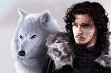 The Game of Throne, Jon Snow and Wolf