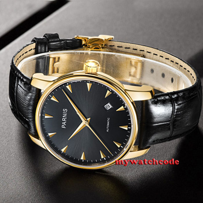 38mm parnis black dial golden plated case miyota automatic mens wrist watch P665 japan miyota 40mm pvd case parnis men s watch