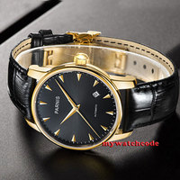 38mm parnis black dial golden plated case miyota automatic mens wrist watch P665