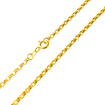 Real Pure 18K Yellow Gold Necklace For Women Men Fashion O Rolo Jewelry2-2.5mmW Necklace Cable Link Chain 17.7inch 1