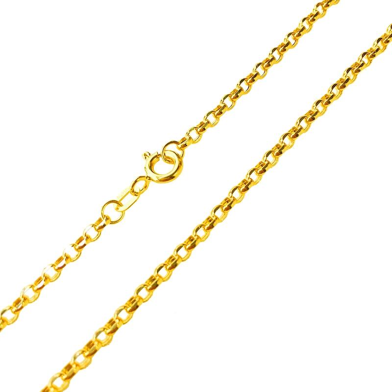 Véritable pur 18 K or jaune collier pour femmes hommes mode O Rolo Jewelry2-2.5mmW collier câble lien chaîne 17.7 pouces