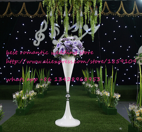 10pcslot White Flower Vase 70cm Tall Wedding Pillar Wedding