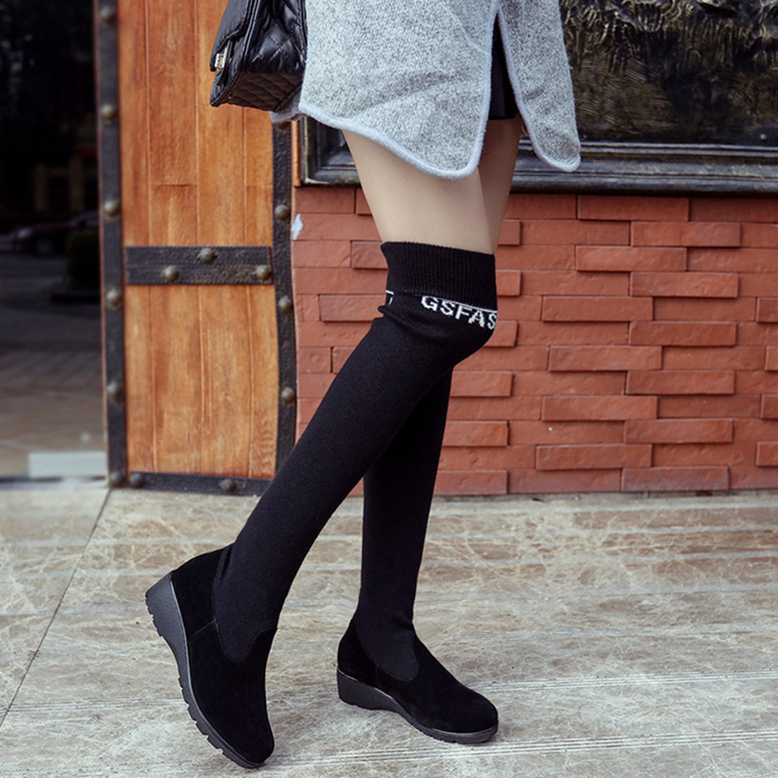 Womens Stretch Slim Suede Knee High Over The Knee Boots Platform Warm High heel Woolen Martin