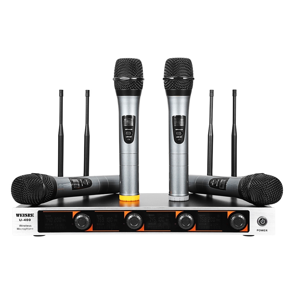 WEISRE U 400 Professional VHF Wireless Microphone Set 4 channel for 4 Mic with Receiver for Studio Karaoke Radio