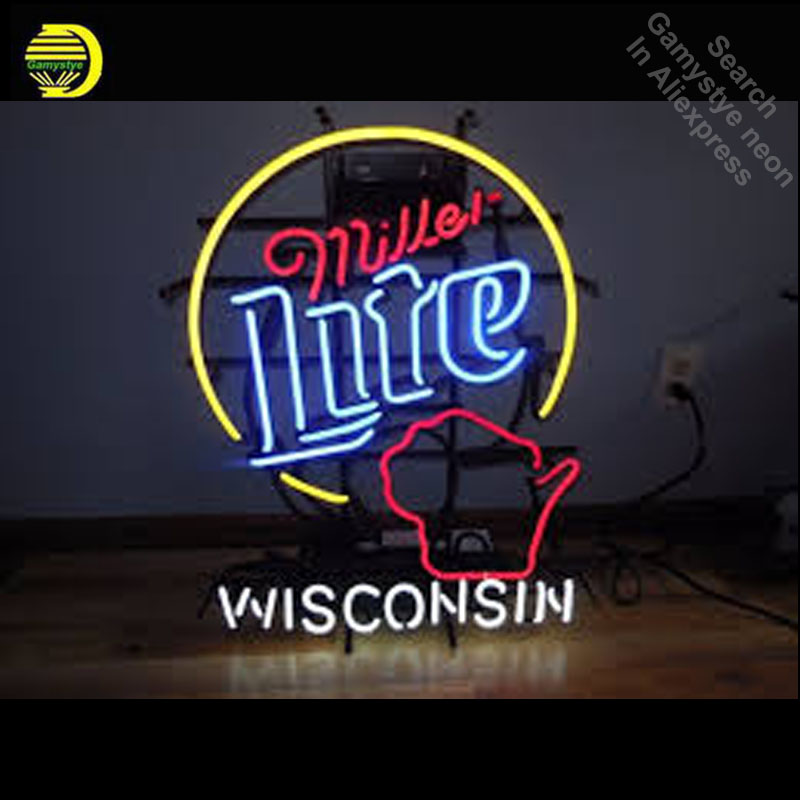 MILLER LITE BEER STATE OF WISCONS Neon Sign GLASS Tube Handcraft Light Sign lighted personalized vintage neon lamps art for sale