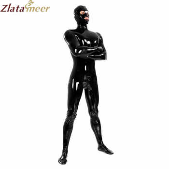 Full Cover Black Latex Catsuit Sexy Fetish Erotic Costumes Rubber Bodysuit for Man Plus Size Jumpsuit Customize Service - DISCOUNT ITEM  8% OFF All Category