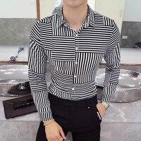 Высокое качество Для мужчин свадьба рубашки Демисезонный с длинным рукавом отложным воротником платье рисунком в полоску Повседневная рубашка Для мужчин Camisas Homme