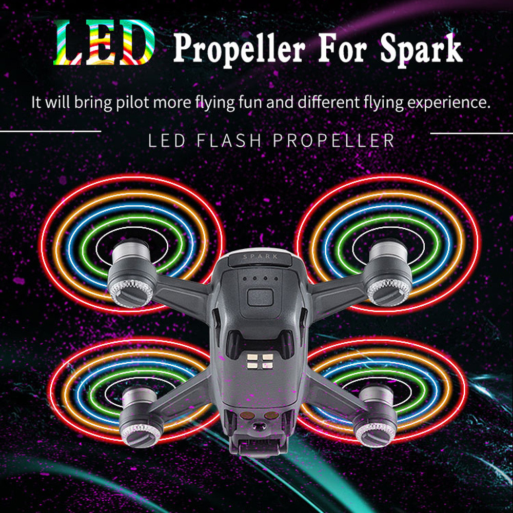 1Pairs Spark LED Flash Propellers Blades Props Rechargeable for DJI Spark Drone