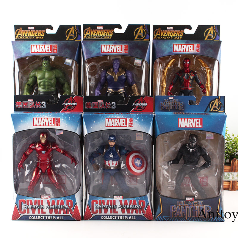 Marvel Avengers 3 Infinity War Spiderman Hulk Black Panther Iron Man Captain America Thanos Action Figure Collection Model Toys цены онлайн
