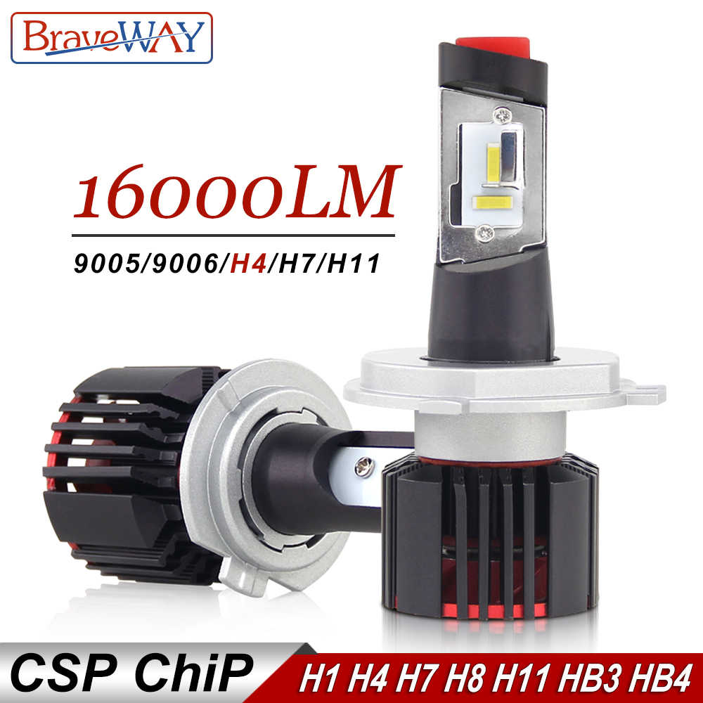 BraveWay H4 LED H7 H11 HB3 HB4 9005 9006 Auto Led Light Car Headlight Bulb for Cars CSP Chip H7 LED Lamp for Car Bulb H4 16000LM