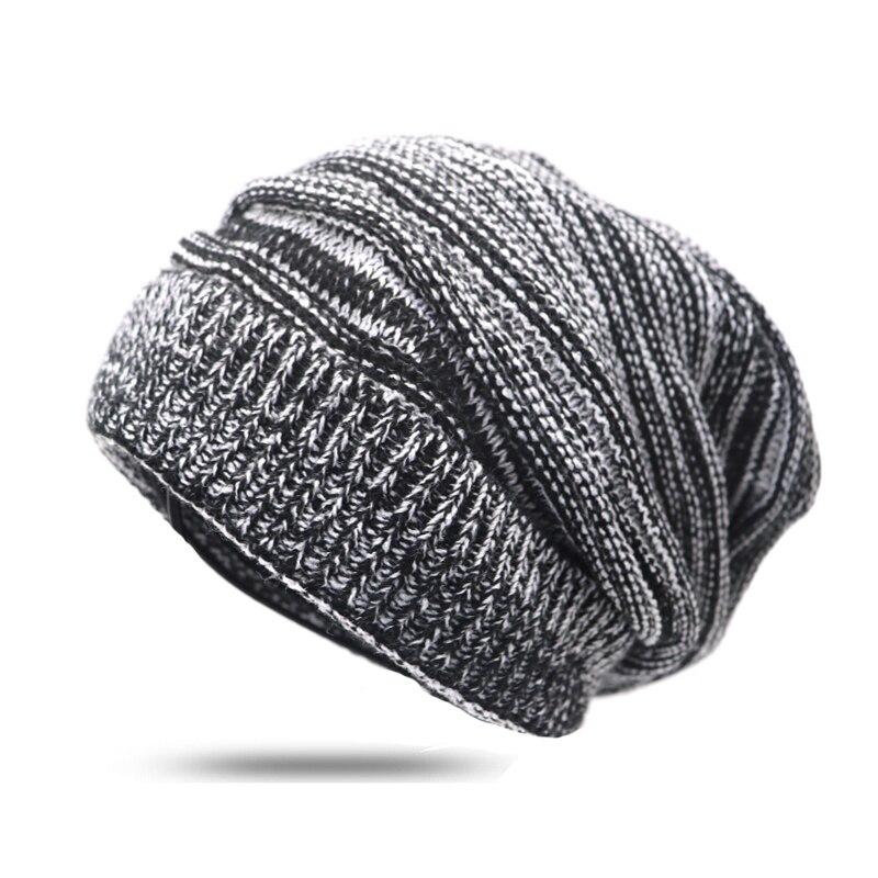 1Pcs Fashion Autumn Winter Hats for Men   Skullies     Beanies   Women Casual Warm Cap Hat Unisex Stripes Knitted Bonnet   Beanies   Gorros
