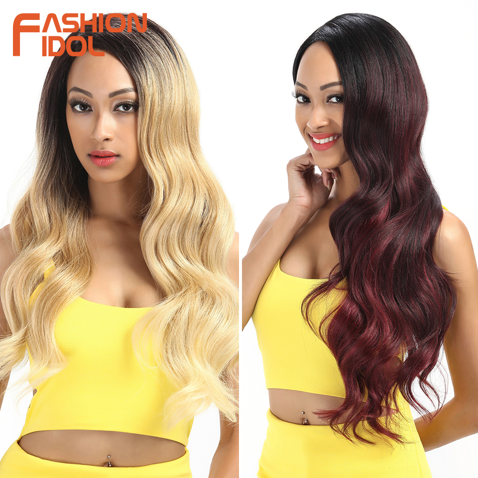 Cosplay Wigs Synthetic-Hair-Fiber Lace-Front Wavy Body-Wave Brown 22-28inch Glueless