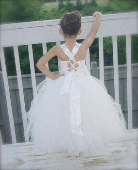 White Ivory Little Girl Flower Girl Dress Kids Clothing Tulle Princess Brithday Communion For Formal Occasion