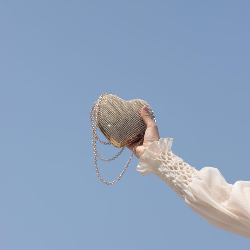 Herz Geformte Volle Diamant Frauen Abend Taschen Kette Schulter Handtasche Tag Kupplungen Abend Taschen Für Party Hochzeit Feines Handwerk Damentaschen