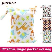Bolso mojado del pañal del paño disponible al por mayor barato del bebé de la tela solo botón de la cremallera del bolsillo reutilizable cojines de lactancia menstruales moje el bolso