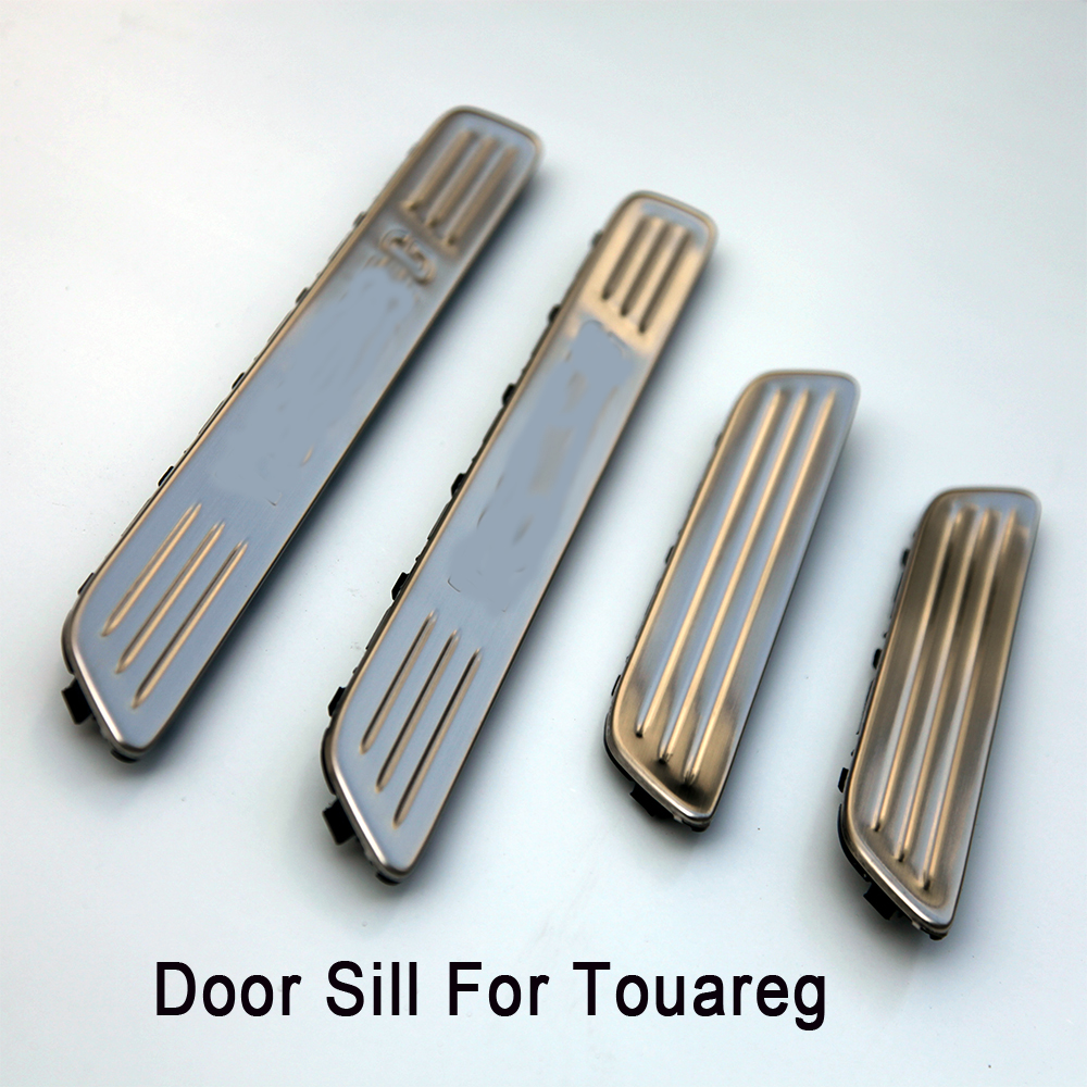 4PCS High quality stainless steel accessories Car Door Sill Scuff Plate Guards Sills Trim for VW TOUAREG 2011 2012 2013 2014 stainless steel led scuff plate door outside sills trim car accessories welcome pedal for ford kuga 2013 2014