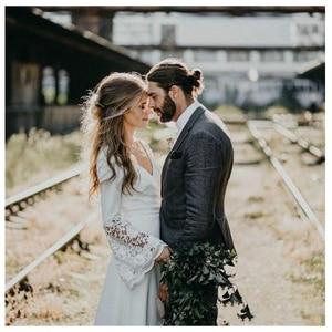 Image 2 - LORIE White Boho Wedding Dresses Lace Flare Sleeves V Neck Princess Bride Dress  Floor Length Wedding Gown 2019