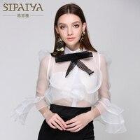 SIPAIYA 2017 Summer Blouse Womens Runway Designer Bow Collar Sexy Women Tops Shirt Feminine Blusas
