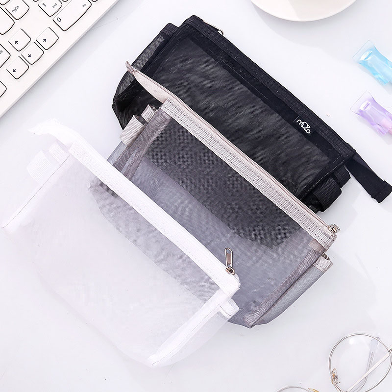 Transparent Mesh Pencil Case For Kids Girls Boys Child Student Gifts Pencilcase For Office School Small Pen Bags Pencil Case Box