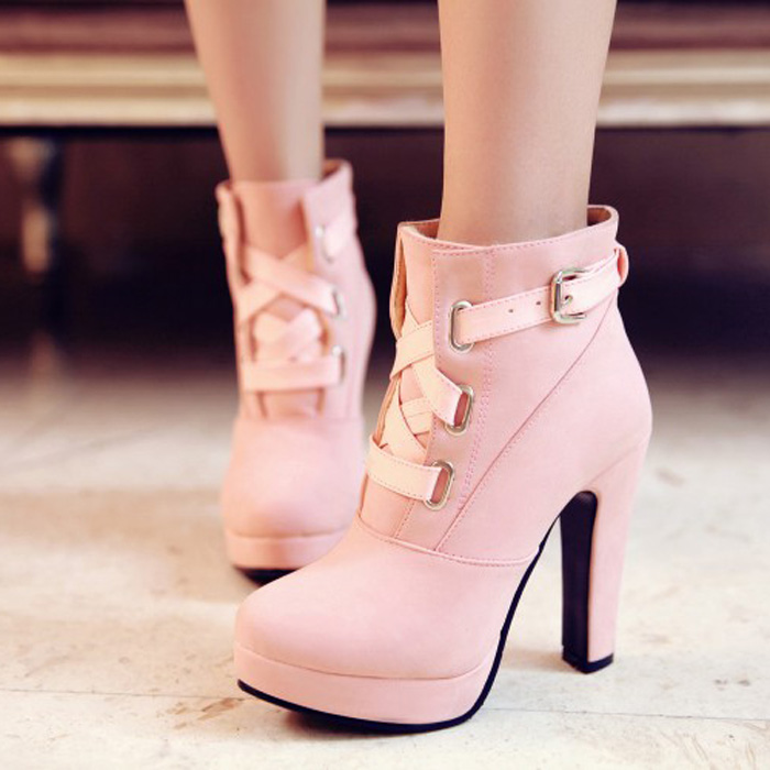 2015 Autumn And Winter New Stiletto Shoes Platform Boots Rome Female Heeled Booties Pink Black Yellow