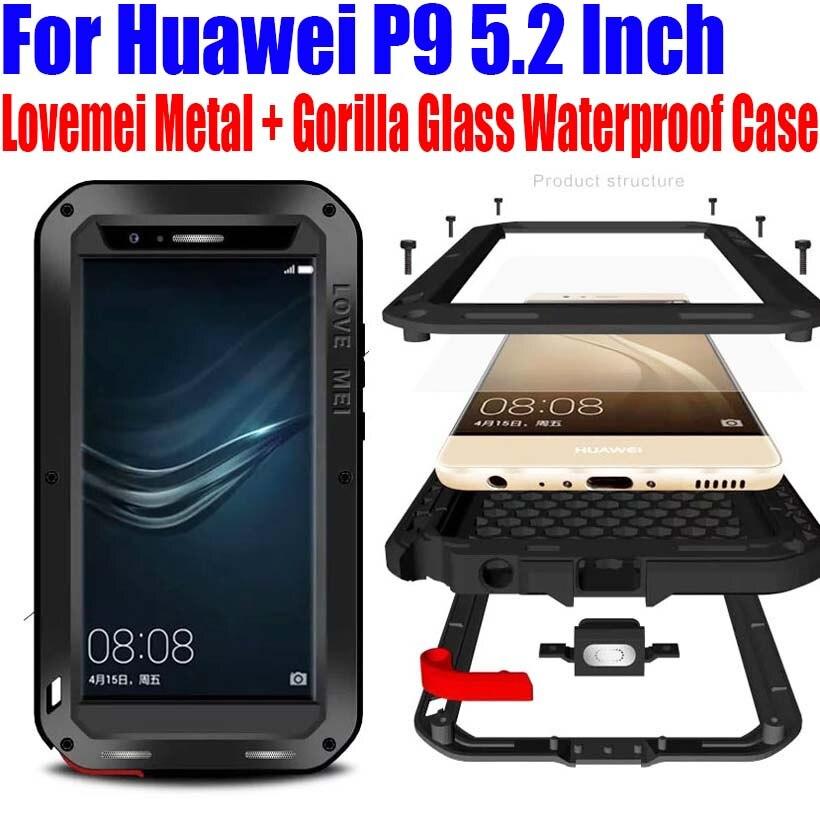 bilder für Für Huawei P9 5,2 Zoll Ursprüngliche Lovemei Aluminium Metall + Gorilla Glass Shock Tropfen Wasserdicht fall für Huawei P9 HP91