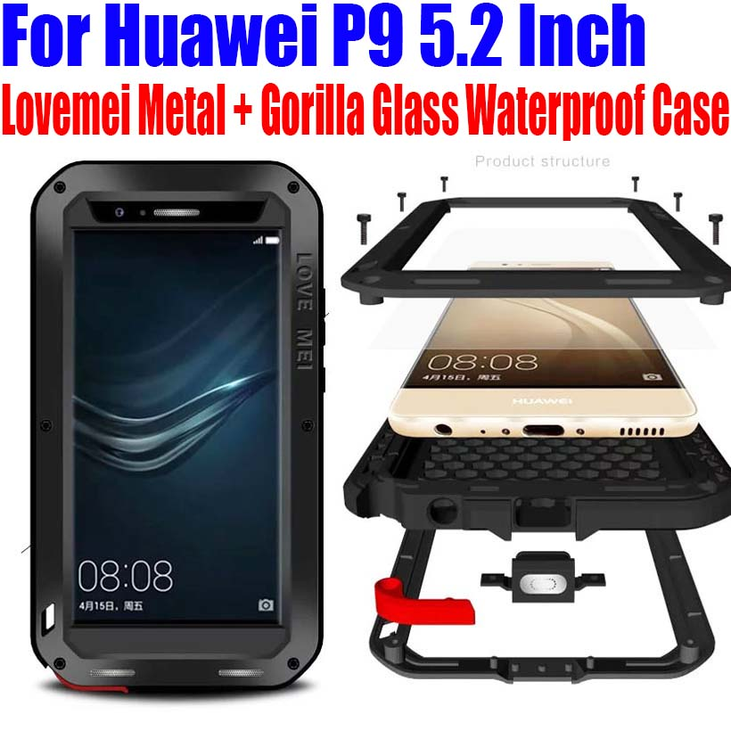 imágenes para Para Huawei P9 5.2 Pulgadas Original Lovemei Aluminio Metal + Gorilla Glass Choque Gota funda Impermeable para Huawei P9 HP91