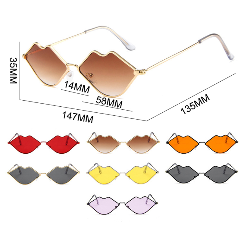 Psacss NEW Lip Shape Vintage Sunglasses Women Fashion Sexy Sun Glasses Women 39 s Retro Brand Designer Mirror Sunglass gafas de sol in Women 39 s Sunglasses from Apparel Accessories