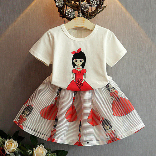 Kids girls Short sleeve suit new summer children's cotton casual T-shirt big virgin two pieces skirt girl clothes 2-9 years 2 2017 new style fashion mom and girls short sleeve letter t shirt dot black skirt set summer kids casual clothes parenting 17f222