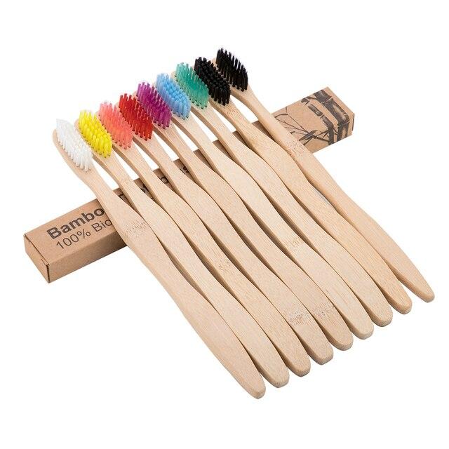 8 colores cepillo de dientes ecológico cepillo de dientes de bambú Salud para el cuidado bucal Limpieza de dientes cepillos de cerdas suaves Eco medio