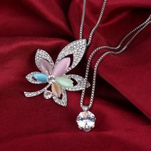 Fashion Natural Cat Eye Stone CZ Multilayer Necklaces Leaves Pendants Long Statement Silver Necklaces & Pendants Women Jewelry(China)