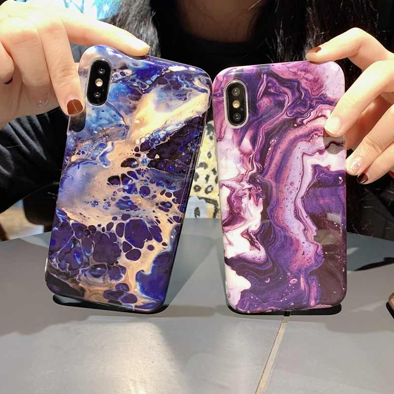 Colorful Glossy Phone Case For iPhone X XS Max XR Art Graffiti  Back Cover For iPhone 6 6S 7 8 Plus Marble IMD Soft TPU Cases
