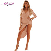 Adogirl Sexy Sequined Side High Slit Dress Women Summer 2019 Long Sleeve V Neck Sexy Bodycon Evening Party Dresses vestidos