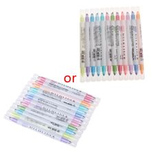 12 Colors Double Headed Highlighter Pen Japanese Stationery Zebra Fluorescent Pen Milkliner Pen Colored Marker